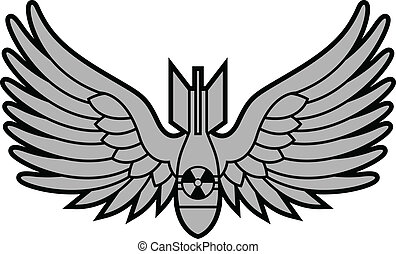 atomic bomb with wings. vector illustration