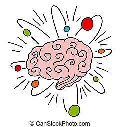 Atomic Brain Power - An image of a human brain with atomic...