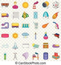 Atomic energy icons set, cartoon style
