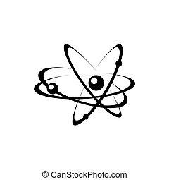 Atomic energy symbol black vector icon