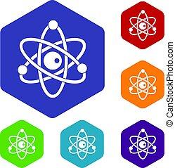 Atomic model icons set hexagon