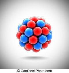 atomic nucleus 3d illustration