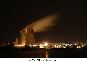 Atomic power plant at night