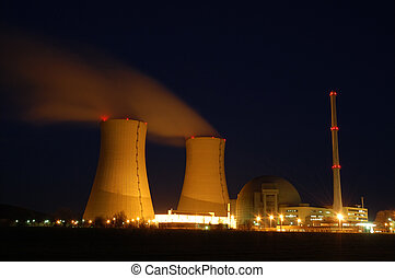 atomic power plant by night