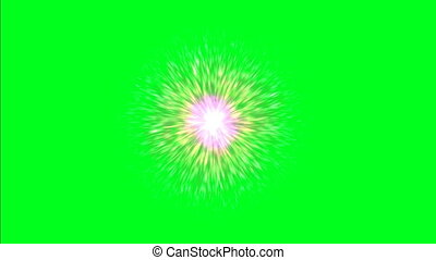 Atomic rays on green screen
