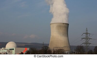 atomic reactor with cooling tower