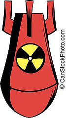 Atomic red bomb icon cartoon