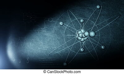 Atomic structure drawing  in spot of light on the wall