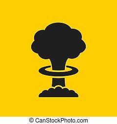 atomique, vecteur, explosion, icône