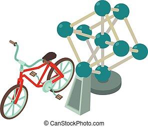 Atomium icon, isometric style