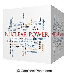 atomkraft, 3d, würfel, wort, wolke, begriff