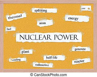atomkraft, corkboard, wort, begriff