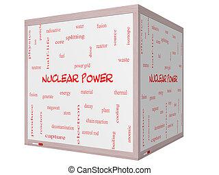 atomkraft, wort, wolke, begriff, auf, a, 3d, würfel, whiteboard