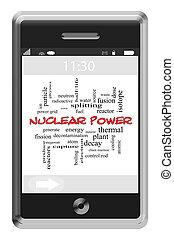 atomkraft, wort, wolke, begriff, auf, a, touchscreen, telefon