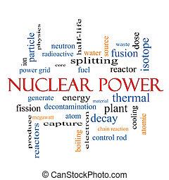 atomkraft, wort, wolke, begriff
