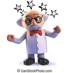 atontado, redondo, científico, el suyo, caricatura, ...