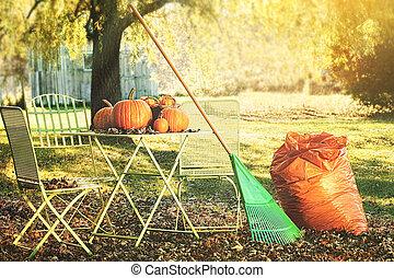 atormentar, hojas, halloween, preparando