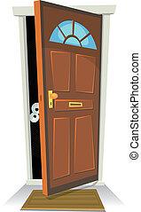 atrás, alguien, puerta, algo, o