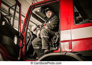 atrás, camión, bombero, entrepuente, firefighting, rueda
