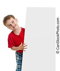 atrás de, anunciando, em branco, criança, bandeira, feliz