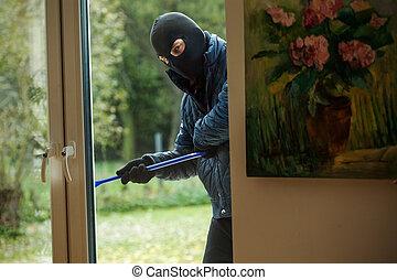 atrás de, assaltante, janela