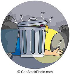 atrás de, dumpster