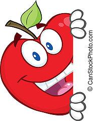 atrás de, escondendo, maçã, vermelho, sinal