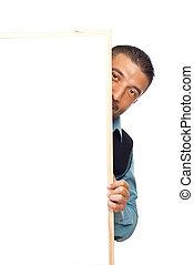 atrás de, homem, painél publicitário, escondendo