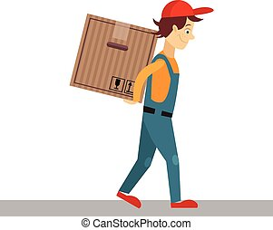 atrás de, ilustração, homem, vetorial, costas, caixa entrega