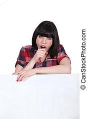 atrás de, mulher, bocejar, branca, painel
