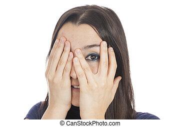 atrás de, mulher, peeking, dela, mão
