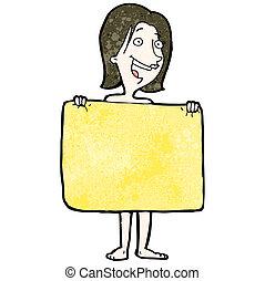 atrás de, mulher, toalha, caricatura