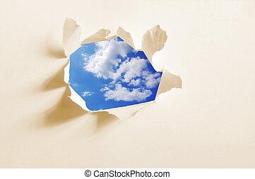 atrás de, papel, céu, buraco, nublado