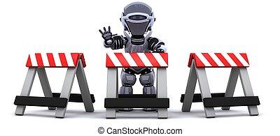 atrás de, robô, barreira