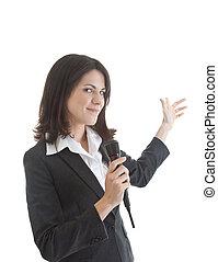 atrás de, segurando, herself., isolado, branca, mulher, sem fios, sorrindo, microfone, caucasiano, gesticule, experiência.