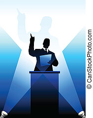 atrás de, silueta, business/political, pódio, orador