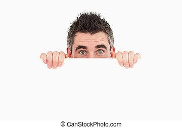 atrás de, tábua, branca, homem, escondendo