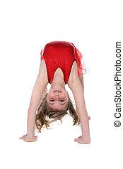 atrás, doblado, gimnasta, encima, joven, baile, posición,...
