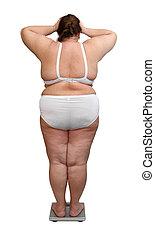 atrás, mujeres, sobrepeso, escalas