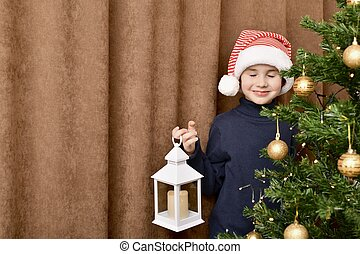 atrás, ojos, mano., navidad, niño, el suyo, sonriente, gorra, cerrado, linterna, árbol, estantes, rayado