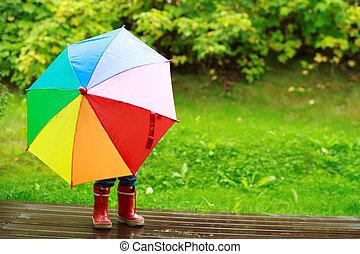 atrás, paraguas, niña, paliza