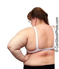 atrás, sobrepeso, mujeres