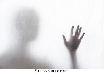 atrás, tela, hombre, sombra, posición, delgado