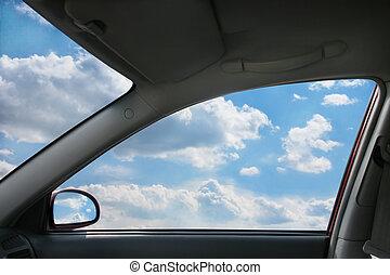 atrás, ventana, paisaje, coche