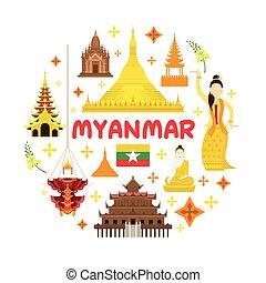 atração, viagem, myanmar, etiqueta