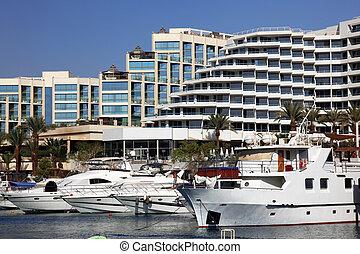 atracó, yates, frente, lujo, puerto, hoteles
