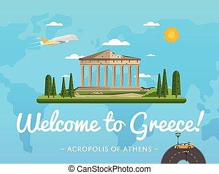 atracción, famoso, bienvenida, grecia, cartel