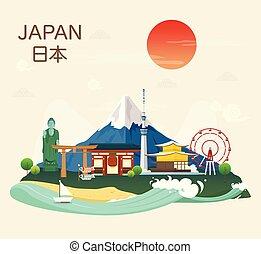 atracciones turísticas, señales, japonés, famoso, japón, illustration.vector