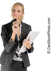 Atractive blonde businesswoman in black two-piece suit with mobile phone