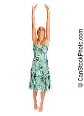Atractive blonde woman in blue patterned dress on the white background